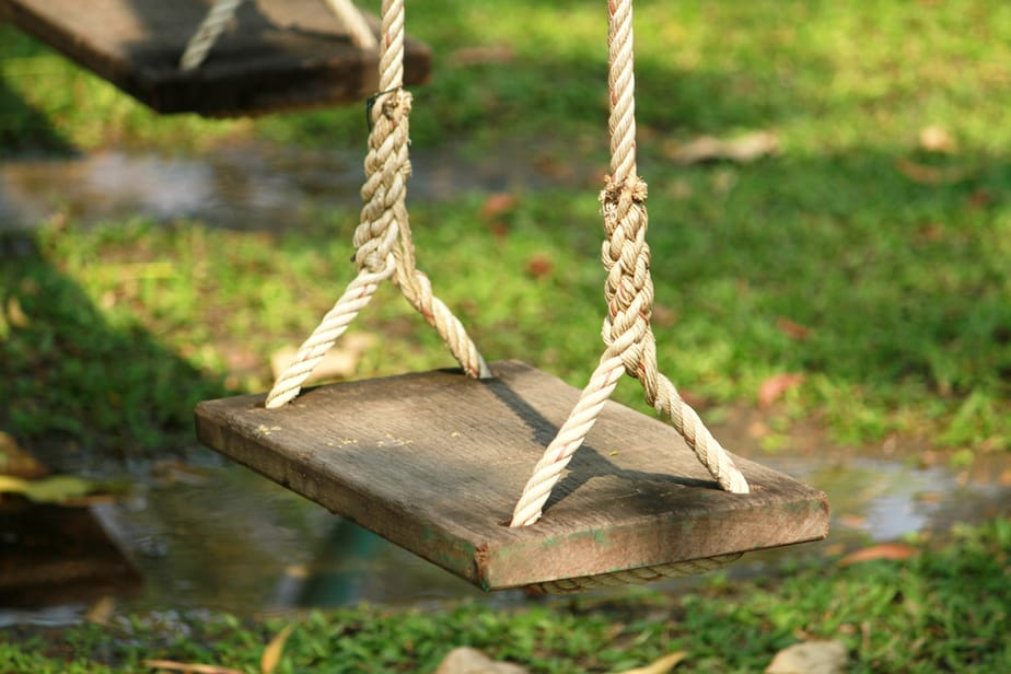 Hang a Baby swing on an angled branch
