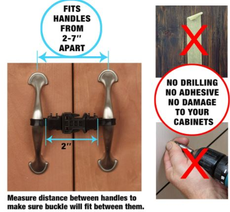 Kiscords Baby Safety Cabinet Locks for Handles Child Safety Cabinet Latches  for Baby Proofing