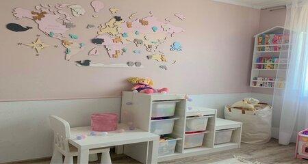 Pink color toddler room