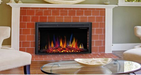 Wood fireplace in the living room