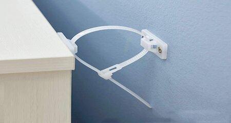 White Anti-tip brackets to Baby proof bookshelf