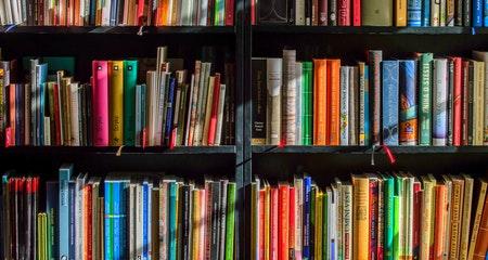 A bookshelf full with books
