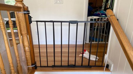 pressure mounted baby gates on the top of stairs