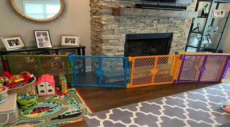 A baby gate around the fireplace